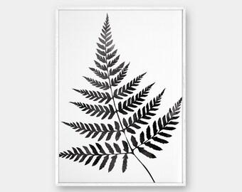 Fern Wall Art, Minimalist Fern, Scandinavian Print, Fern Art, Watercolor Fern, Black Fern, Black Art, Leaves Art, Fern Leaf, Printable Fern