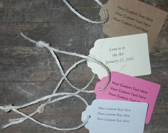 Customized and Personalized Cardstock Tags with Cream Jute Twine 6-Pack