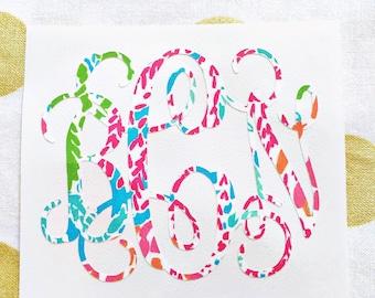 Lilly Pulitzer Inspired Monogram Decal Sticker Initials