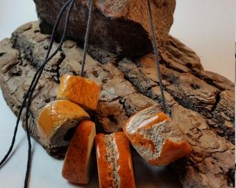 Raku Necklace Orange