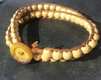 Wooden bead bracelet, wooden wrap bracelet, boho wrap bracelet, hippy wooden bead bracelet, button wrap anklet festival hippy bracelet,uk