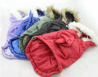 Large XL Dog Parker Coat Faux Fur Hood High Quality Winter Coat