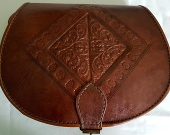 Vintage Style Hand Made Embossed Leather Saddle in Brown