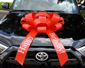 "30"" Happy Birthday Car Bow With Magnetic Base Extra Large Bow Gift Bow Bows For Cars Large Birthday Car Bow Giant Bow Gigantic Bow 30"" Bow"