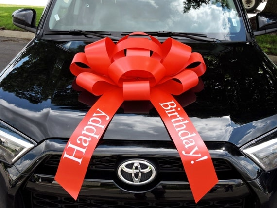 30 happy birthday car bow with magnetic base extra large. Black Bedroom Furniture Sets. Home Design Ideas