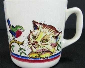 Stavangerflint Norway Hand Painted 7.5oz Gold Trim Cup Mug Kitten Bird Dog