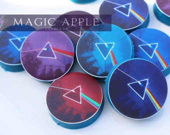 Pink Floyd -Dark side of the Moon. 12 Pre Cut cookie & cupcake toppers! Customize them.