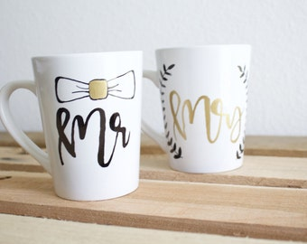 Mr & Mrs Mugs - Wedding Gift - Coffee Mugs - Bride and Groom Mug - Cute Mug
