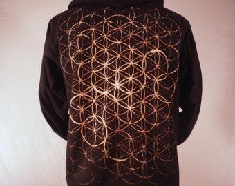 Bleach Art Flower of Life Sacred Geometry Zip Hoodie
