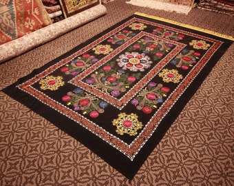Colorful Suzani Bedspread - Table Cover -Vintage - Free Shipping -  size is 6,7 feet x 4,4 feet ( 205 cm x 134 cm )