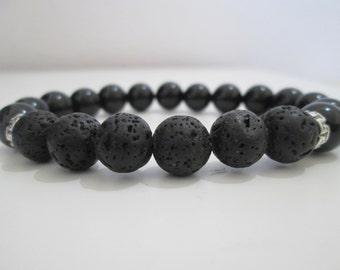 Onyxand Lava volcanic bracelet for manGreek style bracelet,Onyx gemstone bracelet,Lava volcanic men bracelet,Gift,Gift for man