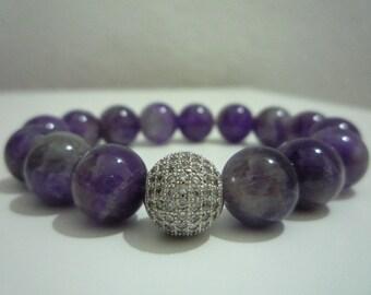 Amethyst, Amethyst bracelet, gemstone bracelet, bracelet, female, gift, gift woman, Micropave