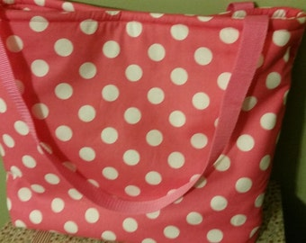 Pink & White Polka Dot Tote Bag