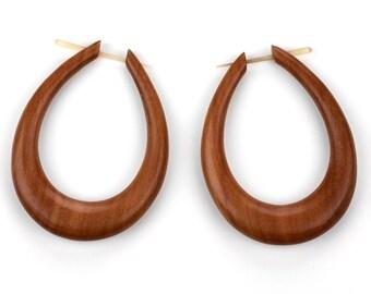 Large Oval Hoops Saba Wood Post Earrings - Organic Hand Made Tribal