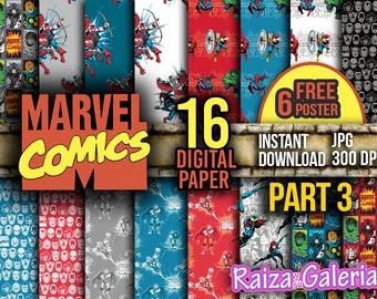 AWESOME Marvel Comic Digital Paper. PART 3 Instant Download - Scrapbooking - Iron-Man Siper-man Thor Hulk Captain America Printable Paper