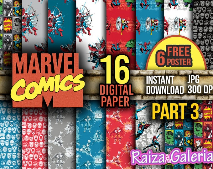 AWESOME Marvel Comic Digital Paper. PART 3 Instant Download - Scrapbooking - Iron-Man Siper-man Thor Hulk Captain America Printable Paper