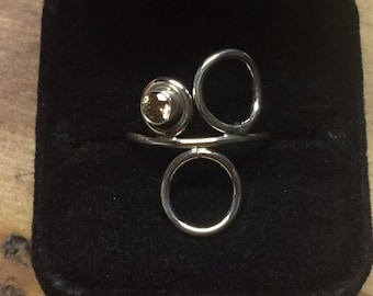Sterling Circle Ring W/ Champagne CZ