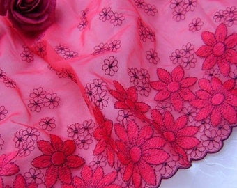 3.00 metres Bright Red Tulle Embroidered in Black