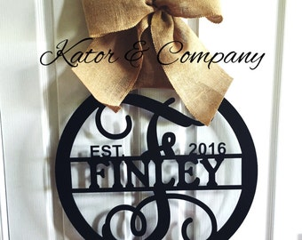 Metal Door Hanging~~Wall Hanging~~Metal Sign~~Personalized~~Wedding Gift~~Housewarming Gift