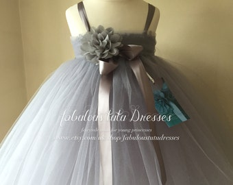 Soft Dove Grey Tulle Tutu Flower Girl Dress With Chiffon Roses.