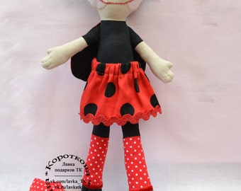 "Cloth Rag Doll Handmade  Doll ""Lady Bug))"""