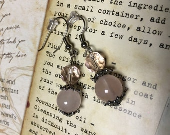 Natural Rose Quartz, Czech Glass Dangle Earrings