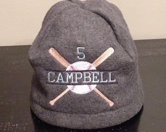 Fleece Baseball/Softball Player Hat, Personalized