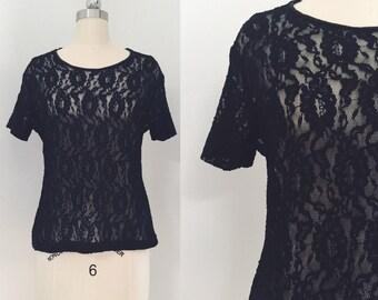 Vintage 90's Black Lace T-Shirt
