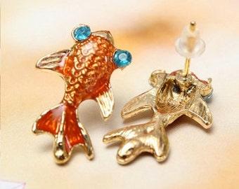 Koi Fish Stud Earrings. Enamel Goldfish Earrings. kawaii