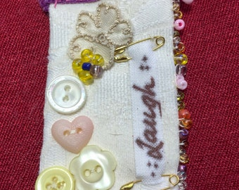 Textile Brooch with a Shabby Chic, Vintage feel