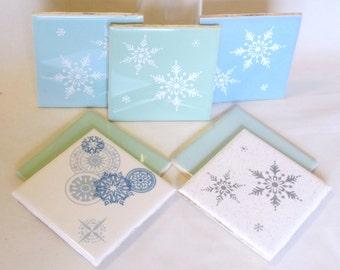 7 Mid-Century Frosty Teal Blue Snowflake Ceramic Kitchen Bathroom Tiles