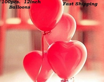 100PCS 12inch Red Heart Latex Balloons Partys, Weddings, Decorations U.S.A. SELLER Fast Shipping
