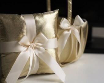 Gold Ring Pillows / Flower Girl Baskets / Gold Ring Bearer Pillow / Gold Wedding Baskets Gatsby Style Bearer Basket Set Gold Wedding Pillow