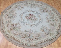 6' x 6' New Round Chinese Aubusson Oriental Rug - Hand Made - 100% Wool