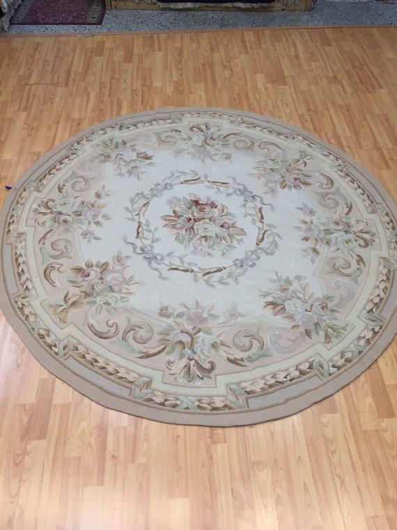 6' x 6' Round Chinese Aubusson Oriental Rug - Hand Made - 100% Wool