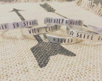 Baby/Child Hand Stamped Aluminum Cuff Bracelets
