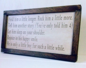 Little Boy Poem Rustic Wood Sign