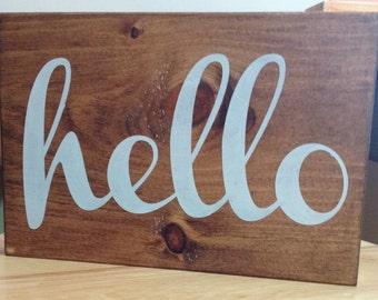 Rustic Wood Hello Mini Sign