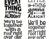Every Little Thing Gonna Be Alright Cuttable Design SVG, DXF, EPS use with Silhouette Studio & Cricut, Vector Art, Vinyl Digital Cut Files