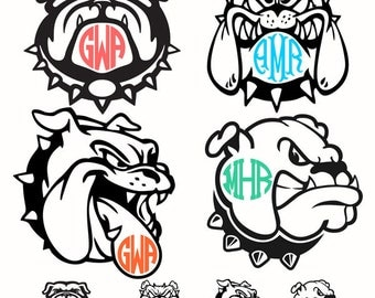 Bulldog Dog Monogram Cuttable Design Pack SVG, DXF, EPS use with Silhouette Studio & Cricut, ...