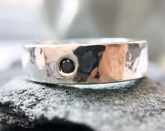 Wide hammered sterling silver ring with black diamond
