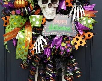 Halloween skeleton wreath
