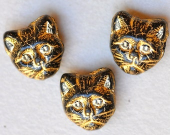 11mm Cat Bead- Czech Glass Cat Beads - Cat's Head Bead - Various Colors - Vertical or Horizontal Hole - Qty 10