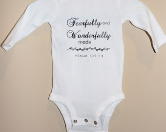 Custom Onesie With Bible Verse (Psalm 139:14)
