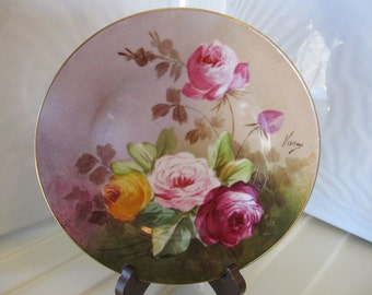 WOW A. Lanternier Hand Painted French Limoge Rose Plate - Artist Signed