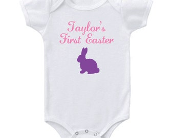 Personalized First Easter Onesie- Boy or Girl Many colors available