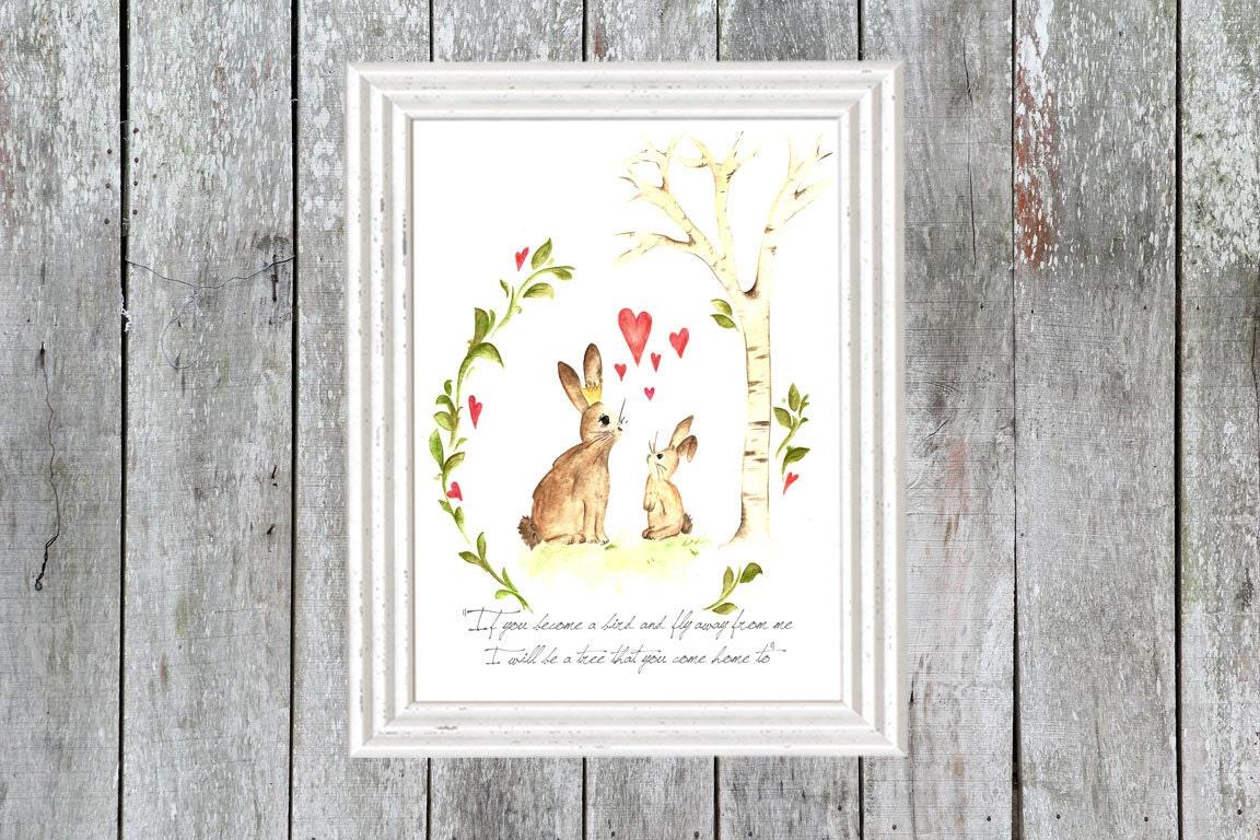runaway bunny print bunny art nursery decor shabby chic