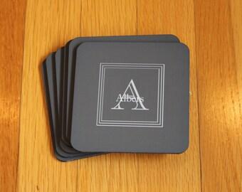 Monogram Grey Coaster, Set of 6 Cork Personalized Coasters