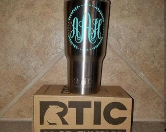 Silver 20 oz RTIC Tumbler with Custom Monogram