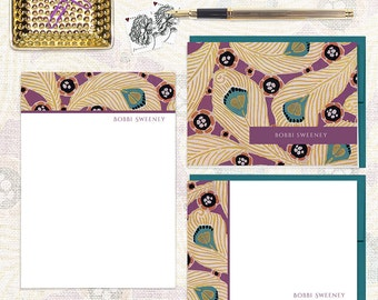 complete personalized stationery set - ABSTRACT PEACOCK FEATHERS - note cards - notepad - stationary
